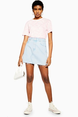 Topshop Womens Bleach Wash Denim Mini Skirt - Bleach Stone