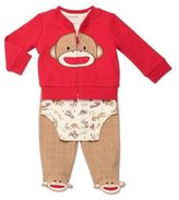 Baby Starters Sock Monkey 3-Piece Cardigan, Bodysuit, and Pant Take Me Home Set