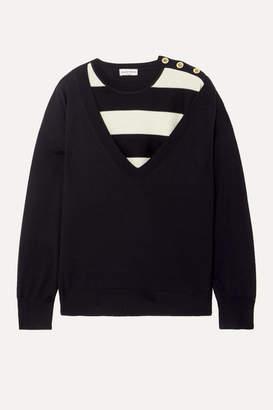 Sonia Rykiel Layered Striped Wool Sweater - Black