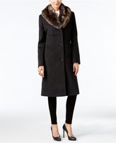 Jones New York Petite Faux-Fur-Collar Walker Coat