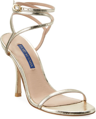 Stuart Weitzman Merinda Strappy Metallic Ankle-Wrap Sandals