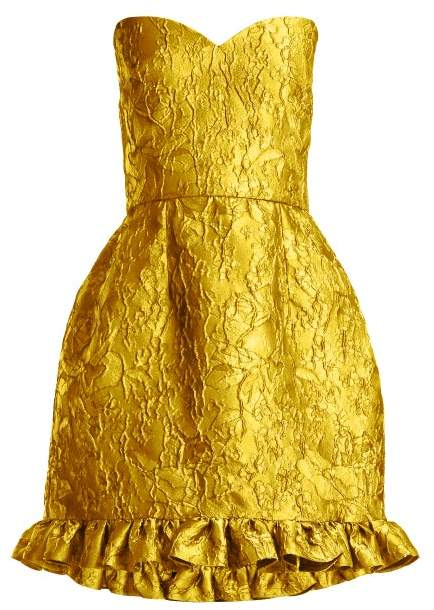 Emilio De La Morena Golde Floral Jacquard Strapless Mini Dress - Womens - Yellow