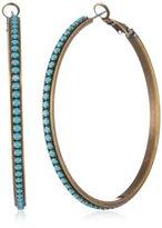 "Liz Palacios Circulo"" Turquoise-Color Crystal Hoop Earrings"