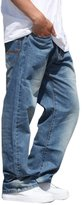 PLAY BIGG PLAYBIGG Men's Loose Washing Casual Straight Pants Demin Jeans-46