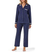 Eileen West Scalloped Lace-Trimmed Interlock Pajamas