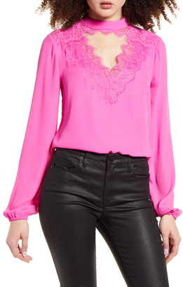 WAYF Eyelash Lace Keyhole Cutout Long Sleeve Top