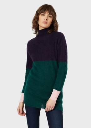 Emporio Armani Ribbed Maxi Rollneck In Colour-Block Mohair Blend