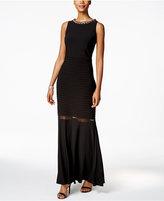 MSK Embellished Illusion-Trim Gown