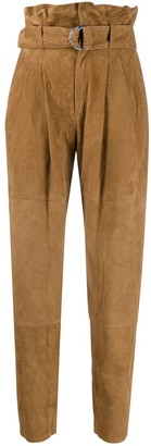 P.A.R.O.S.H. Suede Paperbag Waist Trousers