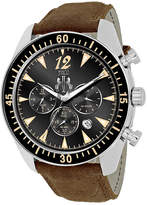 Jivago Timeless Mens Black Dial and Black Leather Strap Watch