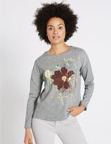 Marks and Spencer Printed Round Neck Long Sleeve Sweatshirt