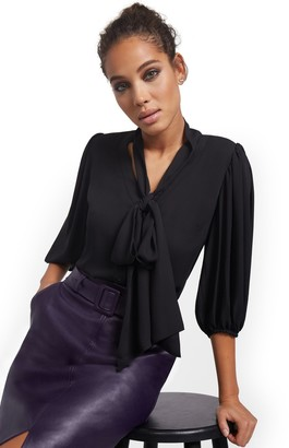 New York & Co. Petite Essential V-Neck Bow Blouse