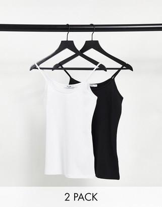 NA-KD 2 pack vest in black and white