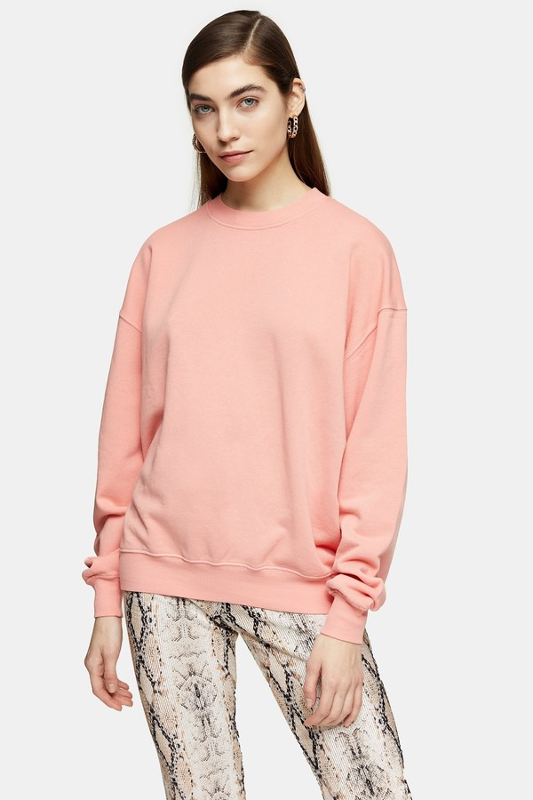 Topshop Womens Dusty Pink Stonewash Sweatshirt - Dusty Pink