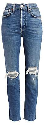 RE/DONE Women's High-Rise Comfort Stretch Ripped Ankle Skinny Jeans
