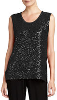 Caroline Rose Sequined Scoop-Neck Tank, Petite