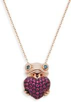 Effy 14K Rose Gold, Ruby & Blue Diamond Frog Heart Pendant Necklace
