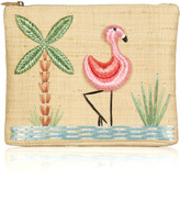Flamingo raffia clutch