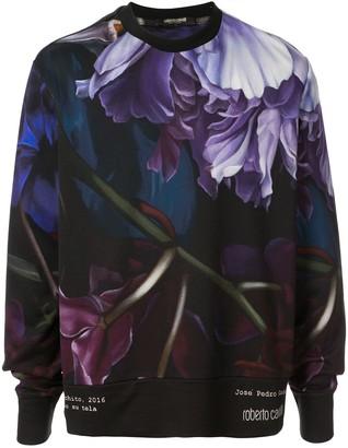 Roberto Cavalli Marchito print crew neck sweater