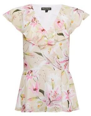 Dorothy Perkins Womens Billie & Blossom Ivory Lily Print Ruffle Top