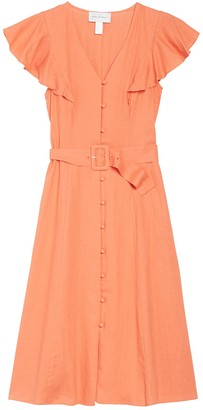 Donna Morgan Solid Flutter Sleeve Button Front Belted Dress
