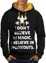 Believe Gym Workout Sport Workout Gym Men S Contrast Hoodie | Wellcoda