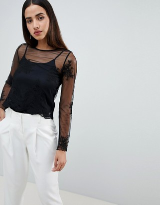 ASOS DESIGN Top With Scalloped Hem And Embroidery