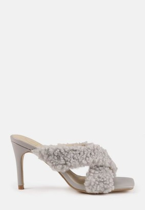 Missguided Shearling Cross Strap Heeled Mules