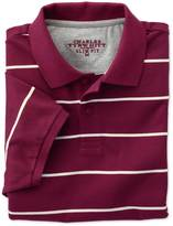 Charles Tyrwhitt Slim fit wine and white striped pique polo