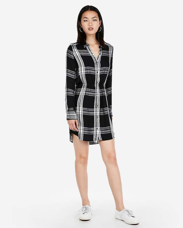 Express Plaid Print Fit And Flare Shirt Dress