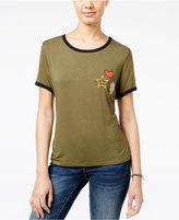 Ultra Flirt Juniors' Patch Ringer T-Shirt