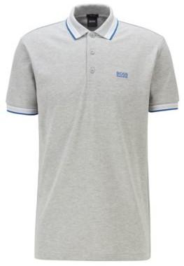 HUGO BOSS Cotton Pique Polo Shirt With Logo Undercollar - Light Grey