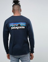 Patagonia Long Sleeve Top P-6 Back Logo Regular Fit In Navy