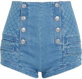 Pierre Balmain Button-detailed Quilted Stretch-denim Shorts - Indigo