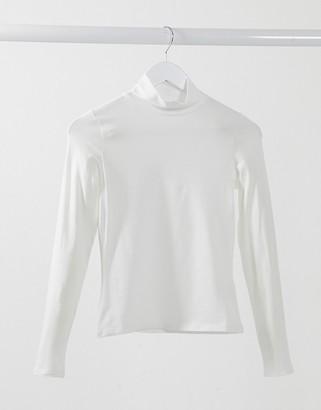 Monki Vanja organic cotton long sleeve top in off white