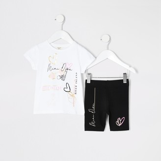 River Island Mini girls White printed T-shirt outfit