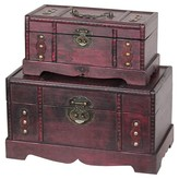Quickway Imports Storage Chests/Trunks Set of 2 Antique Wooden