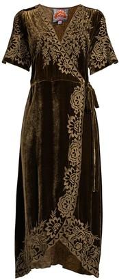 Johnny Was Mina Embroidered Velvet Wrap Dress