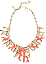 Oscar de la Renta Gold-tone, crystal and resin necklace