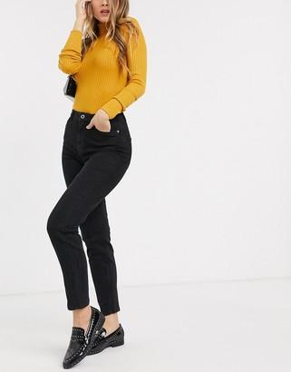 Pieces high waist mom jean in black