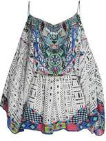 Camilla Cold-Shoulder Embellished Printed Silk Playsuit