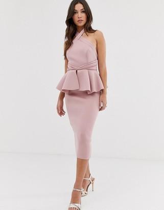 Asos Design DESIGN halter peplum midi pencil dress-Pink