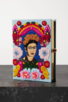 Olympia Le-Tan Frida Embroidered Appliqued Canvas Clutch - Purple