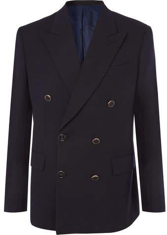 Brioni Midnight-Blue Double-Breasted Wool-Twill Blazer