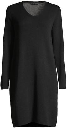 Eileen Fisher V-neck Wool Sweater Dress