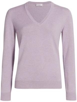 Brunello Cucinelli Long-Sleeve V-Neck Cashmere Sweater