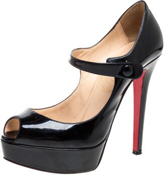 Christian Louboutin Black Patent Leather Zeppa Peep Toe Mary Jane Pumps Size 36.5