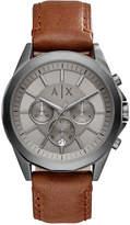 Armani Exchange Men's Chronograph Brown Leather Strap Watch 44mm AX2605