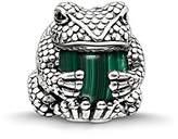 Thomas Sabo Women-Bead Frog Karma Beads 925 Sterling Silver blackened Zirconia black simulated malachite green K0193-880-6