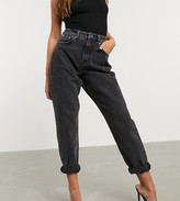 Asos DESIGN Petite high rise 'Slouchy' mom jeans in washed black
